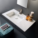 Sleek Rectangular Ceramic Wall Mounted With Counter Space