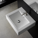 Bathroom Sink, Scarabeo 8007/B, Square White Ceramic Wall Mounted or Vessel Sink