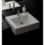 Bathroom Sink, Scarabeo 8007/D, 24 Inch Square Ceramic Semi-Recessed Sink