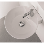 Bathroom Sink, Scarabeo 8009/R, Round White Ceramic Wall Mounted or Vessel Sink