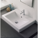 Bathroom Sink, Scarabeo 8025/A, Square White Ceramic Drop In Sink