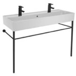 Bathroom Sink, Scarabeo 8031/R-120B-CON-BLK, Double Ceramic Console Sink and Matte Black Stand