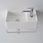Bathroom Sink, Scarabeo 8031/R-41-TB, Small Wall Mounted Ceramic Sink With Polished Chrome Towel Bar