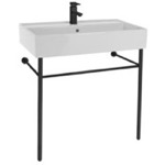 Bathroom Sink, Scarabeo 8031/R-80-CON-BLK, Ceramic Console Sink and Matte Black Stand