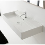 Bathroom Sink, Scarabeo 8031/R-120A, Trough Ceramic Wall Mounted or Vessel Sink