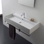 Bathroom Sink, Scarabeo 8031/R-100A-TB, Rectangular Wall Mounted Ceramic Sink With Polished Chrome Towel Bar