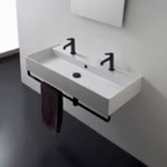 Bathroom Sink, Scarabeo 8031/R-100B-TB-BLK, Wall Mounted Double Ceramic Sink With Matte Black Towel Bar