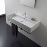 Bathroom Sink, Scarabeo 8031/R-120A-TB, Rectangular Wall Mounted Ceramic Sink With Polished Chrome Towel Bar