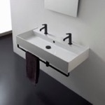 Bathroom Sink, Scarabeo 8031/R-120B-TB-BLK, Wall Mounted Double Ceramic Sink With Matte Black Towel Bar