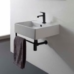 Bathroom Sink, Scarabeo 8031/R-40-TB-BLK, Square Wall Mounted Ceramic Sink With Matte Black Towel Bar