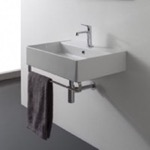 Bathroom Sink, Scarabeo 8031/R-60-TB, Rectangular Wall Mounted Ceramic Sink With Polished Chrome Towel Bar