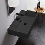 Bathroom Sink, Scarabeo 8031/R-80-49, Rectangular Matte Black Ceramic Wall Mounted or Vessel Sink
