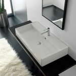Bathroom Sink, Scarabeo 8031/R-100A, Rectangular White Ceramic Wall Mounted or Vessel Sink
