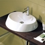 Bathroom Sink, Scarabeo 8041/R, Round White Ceramic Vessel Sink
