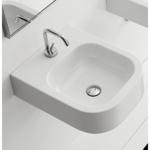 Bathroom Sink, Scarabeo 8047/B, Square White Ceramic Wall Mounted or Vessel Sink