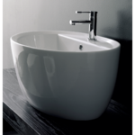 Bathroom Sink, Scarabeo 8056/R, Oval-Shaped White Ceramic Vessel Sink
