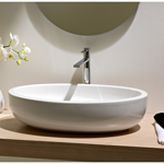 Bathroom Sink, Scarabeo 8111, Oval Shaped White Ceramic Vessel Bathroom Sink