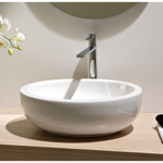 Bathroom Sink, Scarabeo 8112, Oval Shaped White Ceramic Vessel Bathroom Sink