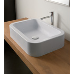 Bathroom Sink, Scarabeo 8307, Rectangular White Ceramic Vessel Bathroom Sink