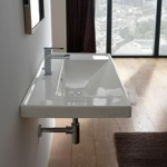Bathroom Sink, Scarabeo 3005, Rectangular White Ceramic Drop In or Wall Mounted Bathroom Sink