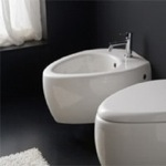 Round White Ceramic Wall Mounted Bidet