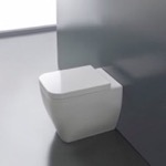 Toilet, Scarabeo 8309, Round White Ceramic Floor Toilet