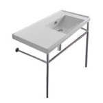 Bathroom Sink, Scarabeo 3009-CON, Rectangular Ceramic Console Sink and Polished Chrome Stand