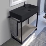 Console Bathroom Vanity, Scarabeo 5118-49-SOL2-88, Console Sink Vanity With Matte Black Ceramic Sink and Grey Oak Shelf