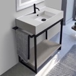 Console Bathroom Vanity, Scarabeo 5123-SOL2-88, Console Sink Vanity With Ceramic Sink and Grey Oak Shelf
