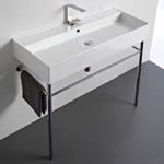 Bathroom Sink, Scarabeo 8031/R-100A-CON, Large Rectangular Ceramic Console Sink and Polished Chrome Stand