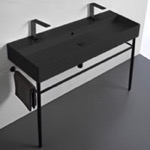 Bathroom Sink, Scarabeo 8031/R-120B-49-CON-BLK, Double Matte Black Ceramic Console Sink and Matte Black Stand