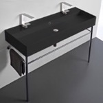 Bathroom Sink, Scarabeo 8031/R-120B-49-CON, Double Matte Black Ceramic Console Sink and Polished Chrome Stand