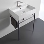 Bathroom Sink, Scarabeo 8031/R-60-CON, Rectangular Ceramic Console Sink and Polished Chrome Stand
