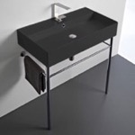 Bathroom Sink, Scarabeo 8031/R-80-49-CON, Matte Black Ceramic Console Sink and Polished Chrome Stand