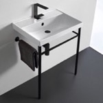 Bathroom Sink, Scarabeo 3004-CON-BLK, Ceramic Console Sink and Matte Black Stand