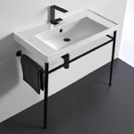 Bathroom Sink, Scarabeo 3005-CON-BLK, Rectangular Ceramic Console Sink and Matte Black Stand