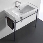 Bathroom Sink, Scarabeo 3005-CON, Rectangular Ceramic Console Sink and Polished Chrome Stand