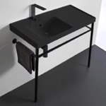 Bathroom Sink, Scarabeo 3008-49-CON-BLK, Matte Black Ceramic Console Sink and Matte Black Stand