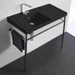 Bathroom Sink, Scarabeo 3008-49-CON, Matte Black Ceramic Console Sink and Polished Chrome Stand