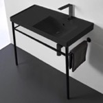 Bathroom Sink, Scarabeo 3009-49-CON-BLK, Matte Black Ceramic Console Sink and Matte Black Stand