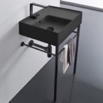 Bathroom Sink, Scarabeo 5114-49-CON-BLK, Matte Black Ceramic Console Sink and Matte Black Stand