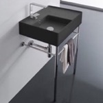 Bathroom Sink, Scarabeo 5114-49-CON, Matte Black Ceramic Console Sink and Polished Chrome Stand