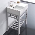 Bathroom Sink, Scarabeo 5114-CON2, Modern Ceramic Console Sink With Counter Space and Chrome Base