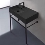 Bathroom Sink, Scarabeo 5115-49-CON-BLK, Matte Black Ceramic Console Sink and Matte Black Stand