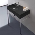 Bathroom Sink, Scarabeo 5115-49-CON, Matte Black Ceramic Console Sink and Polished Chrome Stand