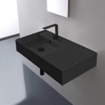 Bathroom Sink, Scarabeo 5115-49, Matte Black Ceramic Wall Mounted or Vessel Sink With Counter Space