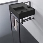 Bathroom Sink, Scarabeo 5117-49-CON-BLK, Matte Black Ceramic Console Sink and Matte Black Stand