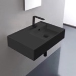 Bathroom Sink, Scarabeo 5117-49, Matte Black Ceramic Wall Mounted or Vessel Sink With Counter Space