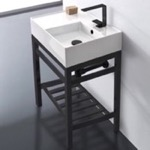 Bathroom Sink, Scarabeo 5117-CON2-BLK, Modern Ceramic Console Sink With Counter Space and Matte Black Base