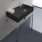 Bathroom Sink, Scarabeo 5118-49-CON, Matte Black Ceramic Console Sink and Polished Chrome Stand